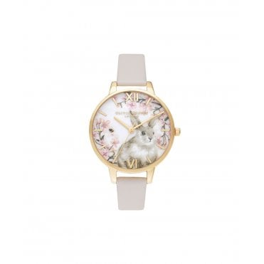 4129e5d118e5d Illustrated Animals Bunny Vegan Watch in Blush Pink   Gold. Olivia Burton  ...