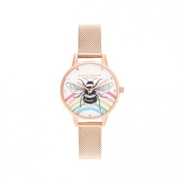 Illustrated Animals Rainbow Bee Rose Gold Mesh Watch