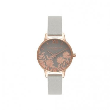 Lace Detail Grey and Rose Gold Watch