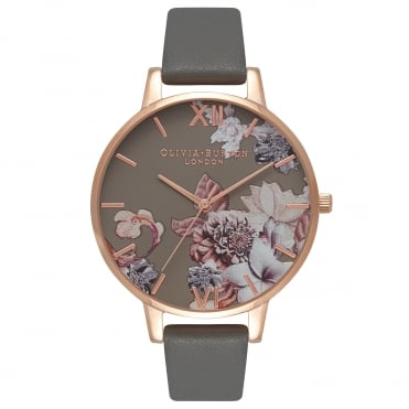 Marble Floral Dark Grey & Rose Gold Watch
