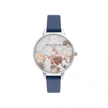 Marble Floral Navy & Silver Watch