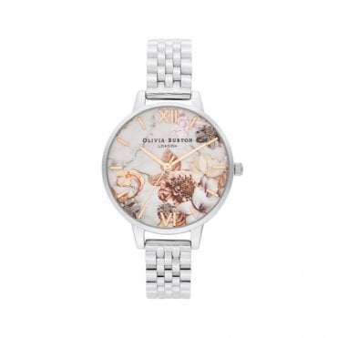 Marble Floral Silver & Rose Gold Bracelet Watch