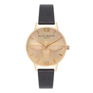 Midi 3D Bee Black & Gold Watch
