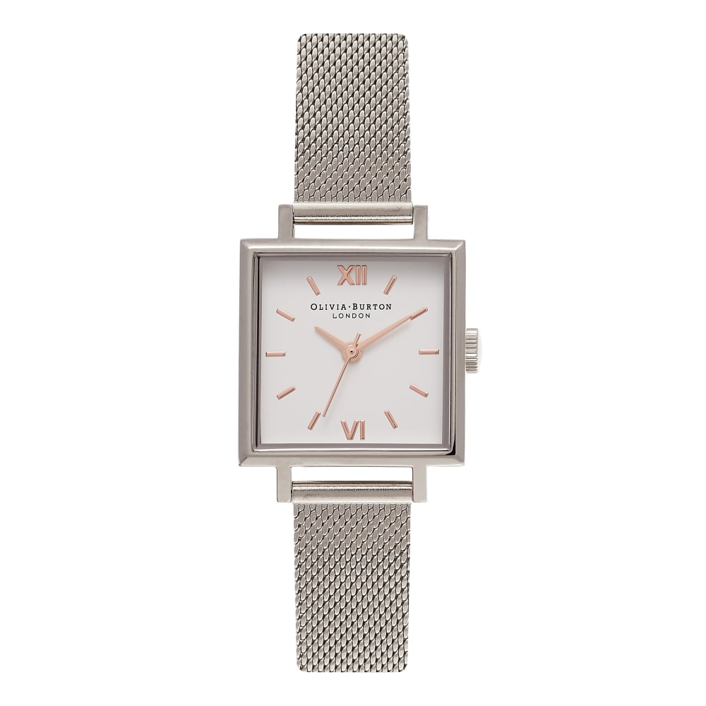 OLIVIA BURTON Midi Square Dial Rose Gold and Silver Mesh Watch 4a2fadad2b