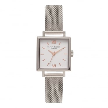 Midi Square Dial Rose Gold & Silver Mesh Watch