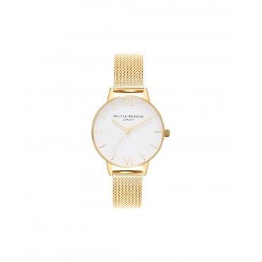 de5df69dbf2f Midi White Dial   Gold Mesh Watch · Olivia Burton ...