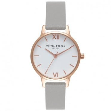 Midi White Dial, Rose Gold & Grey Leather Ladies Watch