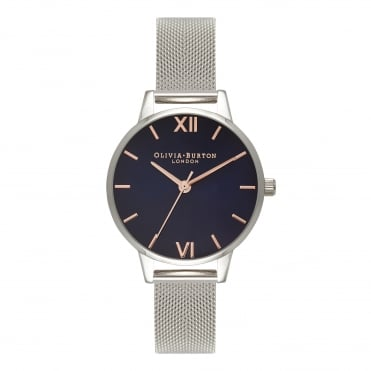 Navy Dial Silver Mesh Watch