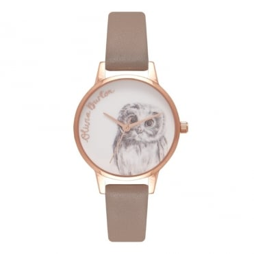 Owl Motif Iced Coffee & Rose Gold Watch