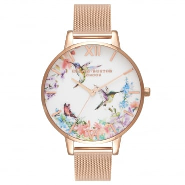 Painterly Prints Hummingbird Rose Gold Mesh Watch
