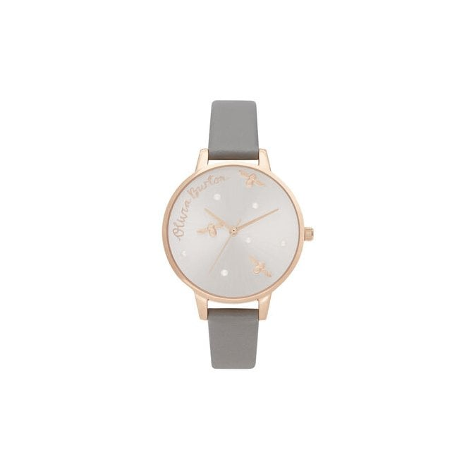 Olivia Burton Pearly Queen Vegan London Grey & Rose Gold Watch
