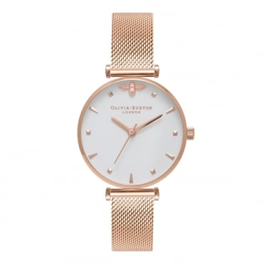 Queen Bee Rose Gold Mesh Watch