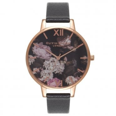 Signature Floral Black Leather and Rose Gold Watch