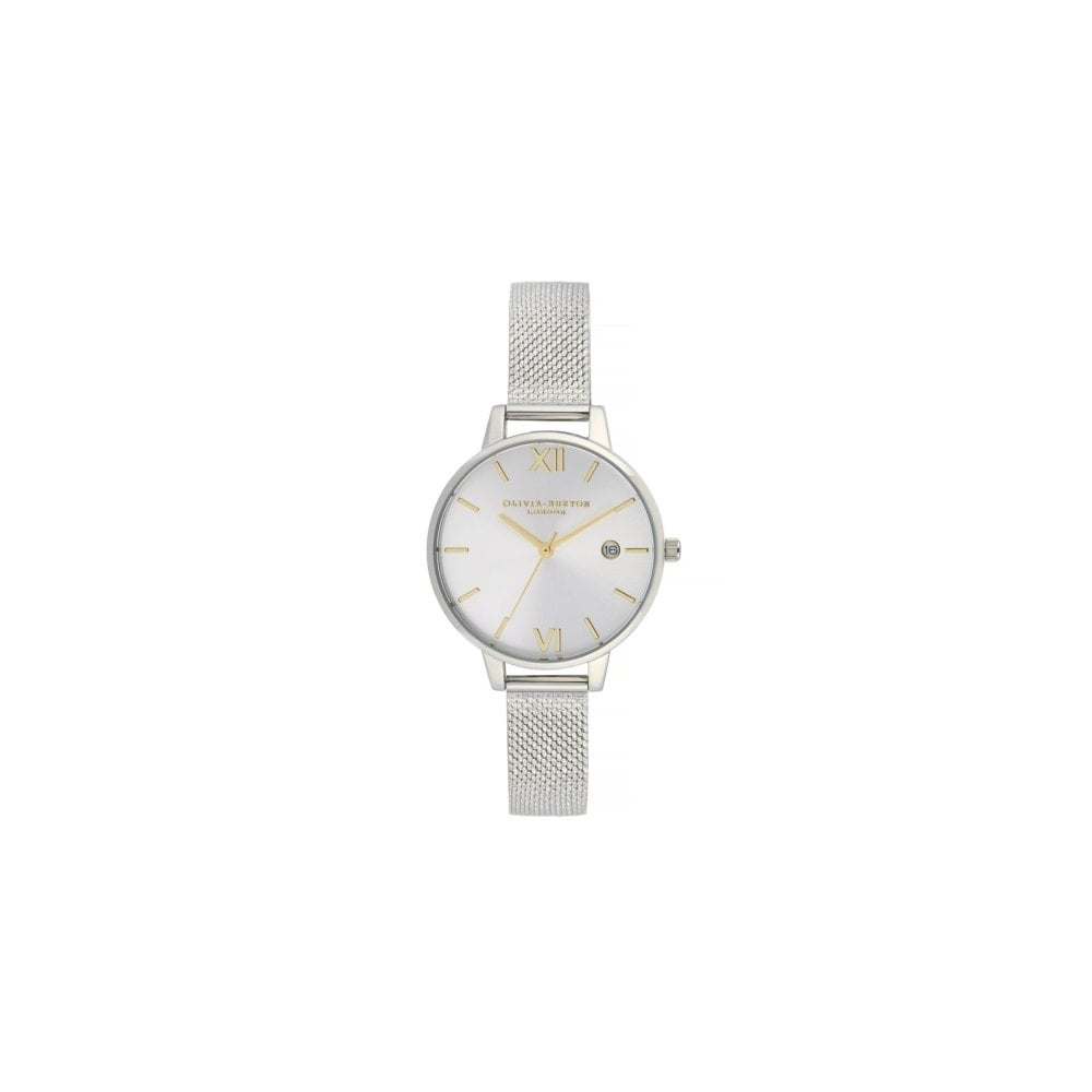 ed52a0d28428 OLIVIA BURTON Sunray Silver Demi Dial Watch with Boucle Mesh