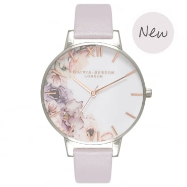 Watercolour Florals Grey Lilac Rose Gold & Silver Watch