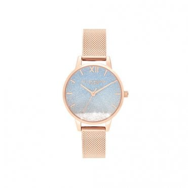 Wishing Wave Blue Glitter Midi Dial Rose Gold Mesh Watch