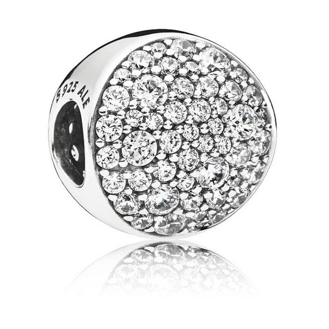 PANDORA Abstract pave silver sphere charm