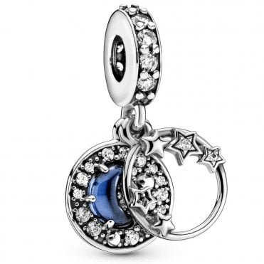 Blue Night Sky Crescent Moon & Stars Dangle Charm