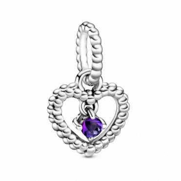 February Birthstone Heart Charm