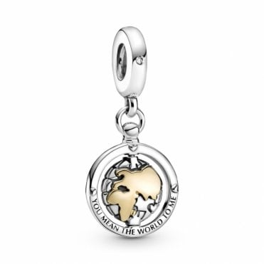 Silver and Gold Spinning World Dangle Charm