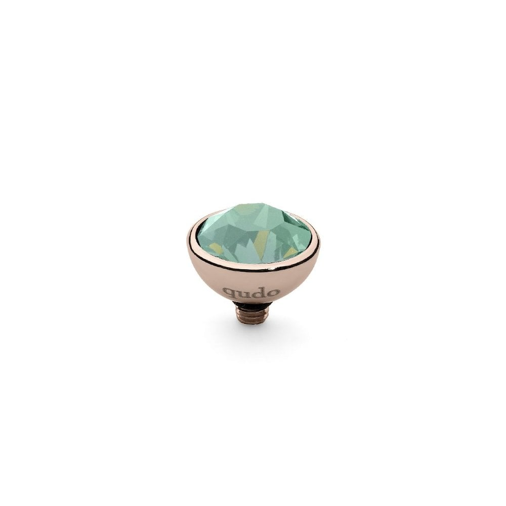 Qudo Rose Gold And Green Chrysolite Crystal Bottone Ring