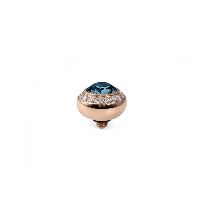 Qudo Tondo Deluxe Rose Gold and Montana Blue Crystal Ring Gem Top - 10mm