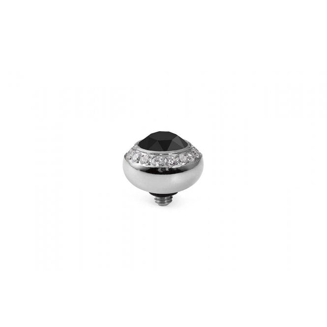 Qudo Tondo Deluxe Silver and Black Crystal Ring Gem Top - 10mm