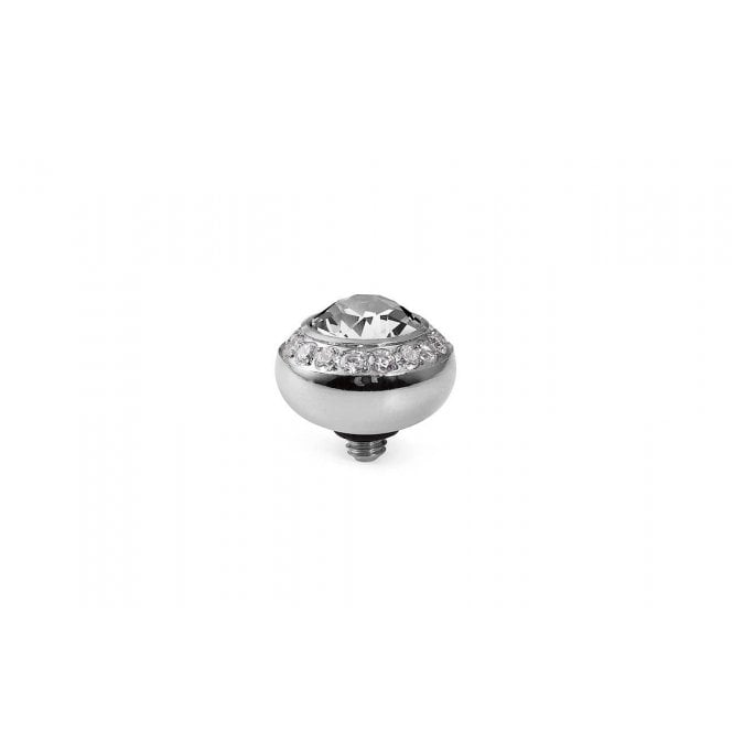 Qudo Tondo Deluxe Silver and Clear Crystal Ring Gem Top - 10mm