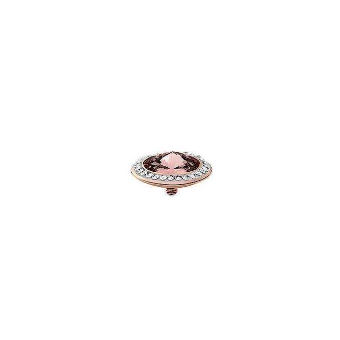 Qudo Tondo Deluxe Silver and Vintage Pink Crystal Ring Gem Top - 16mm