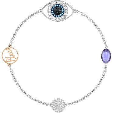 Remix Collection Evil Eye Strand Purple Crystal Bracelet in Rhodium Silver and Rose Gold