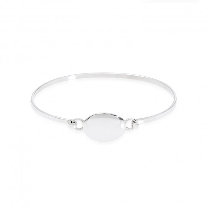 Scribble Engravable Silver 60mm Oval Bangle