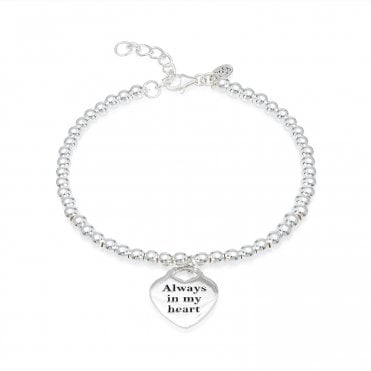 Engravable Silver Always In My Heart Bracelet