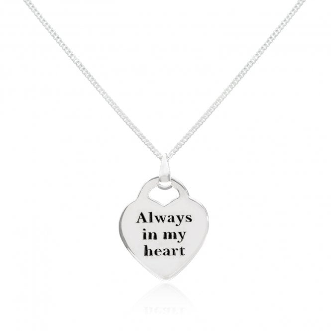 Scribble Engravable Silver Always In My Heart Necklace