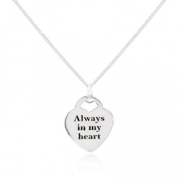 Engravable Silver Always In My Heart Necklace