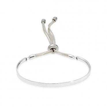 Engravable Silver and Light Grey Friendship Bracelet