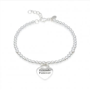 Engravable Silver Friends Forever Heart Bracelet