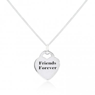 Engravable Silver Friends Forever Heart Necklace