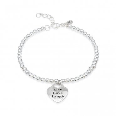 Engravable Silver Live Love Laugh Bracelet