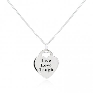 Engravable Silver Live Love Laugh Heart Necklace