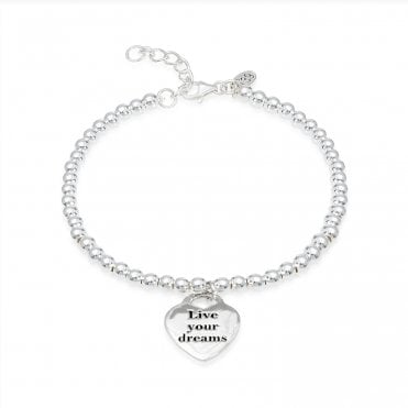 Engravable Silver Live Your Dreams Bracelet