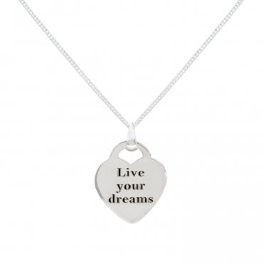 Engravable Silver Live Your Dreams Heart Necklace