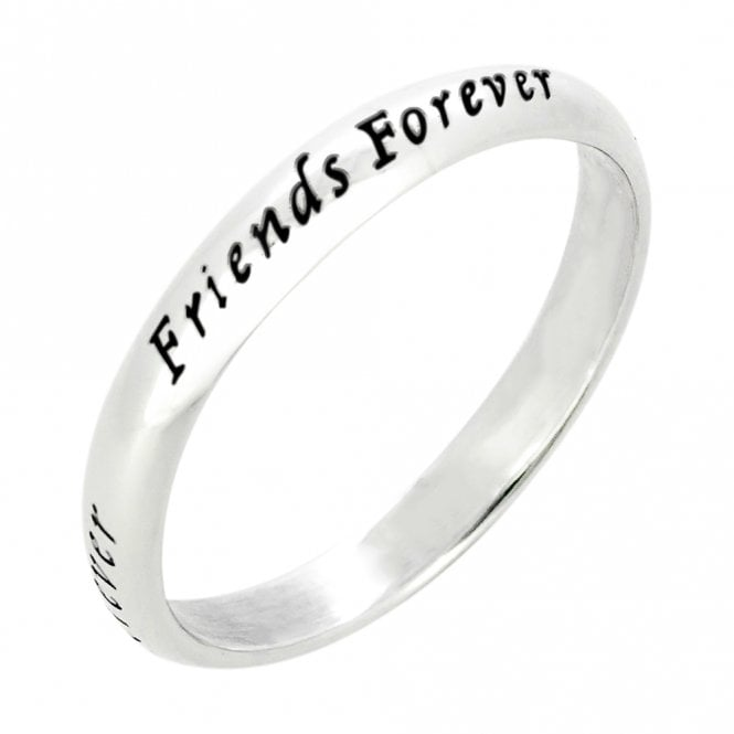 Scribble Engraved Silver Friends Forever Ring- Size 50