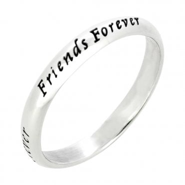 Engraved Silver Friends Forever Ring- Size 56