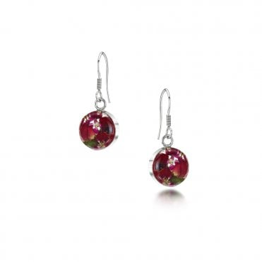 Bohemia Poppy & Rose Small Round Silver Drop Earrings