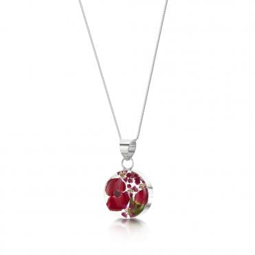 Bohemia Poppy & Rose Small Round Silver Pendant Necklace