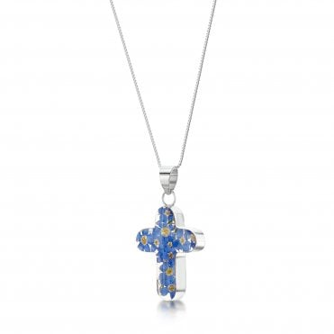 Forget-Me-Not Cross Silver Pendant Necklace