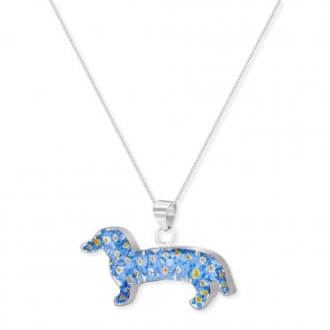 Forget-Me-Not Dachshund Silver Pendant Necklace
