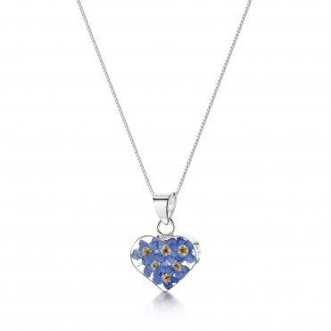 Forget-Me-Not Heart Silver Pendant Necklace