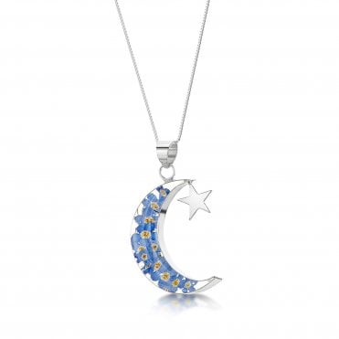 Forget-Me-Not Moon and Star Silver Pendant Necklace