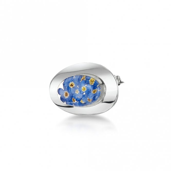 Shrieking Violet Forget-Me-Not Oval Silver Brooch